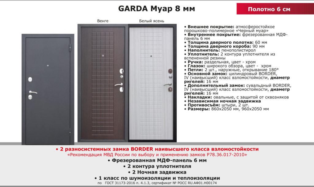 Дверь входная GARDA Муар 8 мм