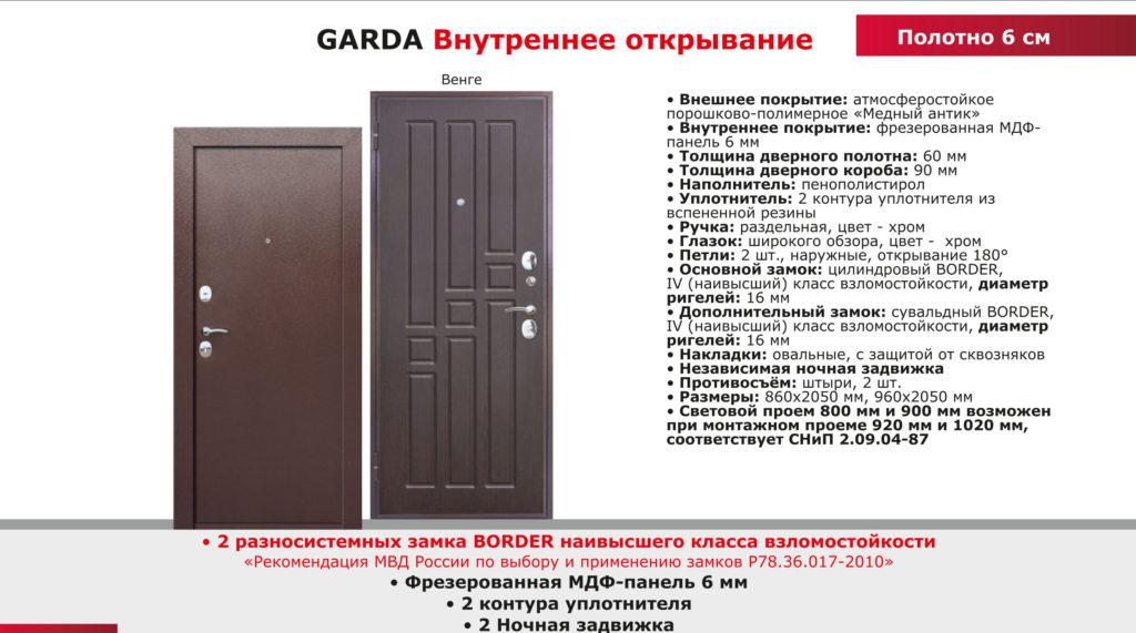 Дверь входная внутреннее открывание GARDA