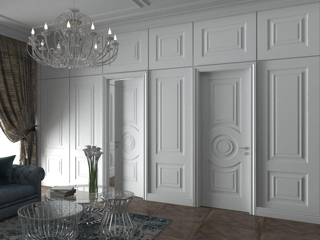 Стеновые панели в одном стиле с межкомнатными дверями